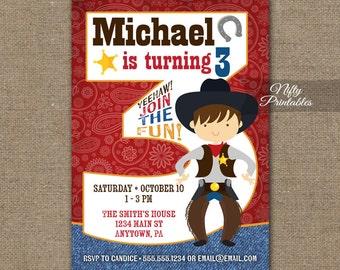 Cowboy Birthday Invitation - 3rd Birthday Invitations - Boys 3rd Birthday Party Invites - Printable 3 Year Old Cowboy Invitation Rodeo CW1