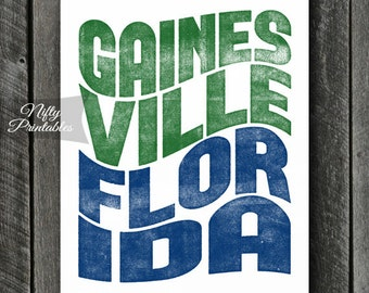 Gainesville Print - PRINTABLE 8x10 Gainesville Florida Poster - Gainesville Art - Gainesville Florida Gifts - City State Typography