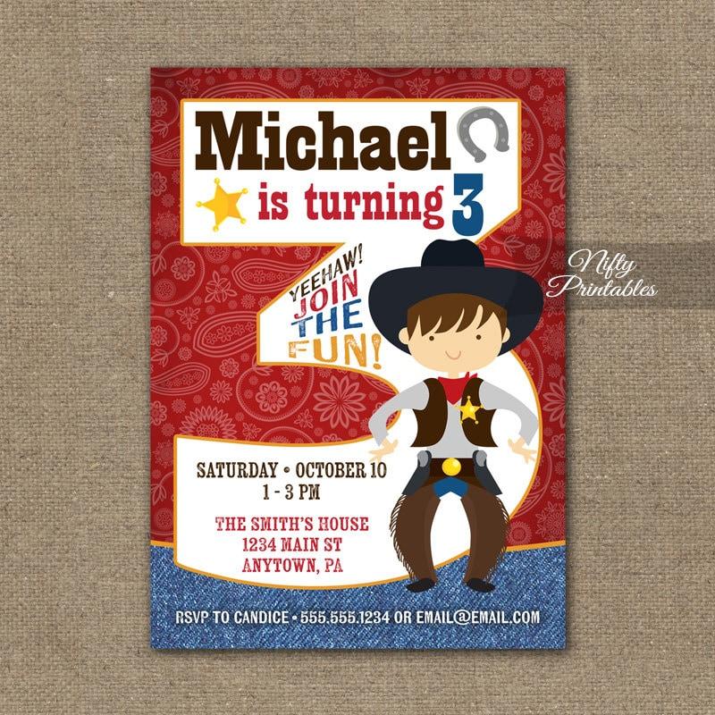 Cowboy Birthday Invitation 3rd Birthday Invitations Boys – Michael Jordan Birthday Invitations