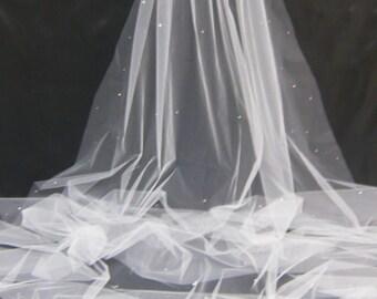 Cathedral Chapel Waltz Tailor Custom Handmade 1 Tier Crystal Rhinestone Wedding Bridal Cut Edge Veil