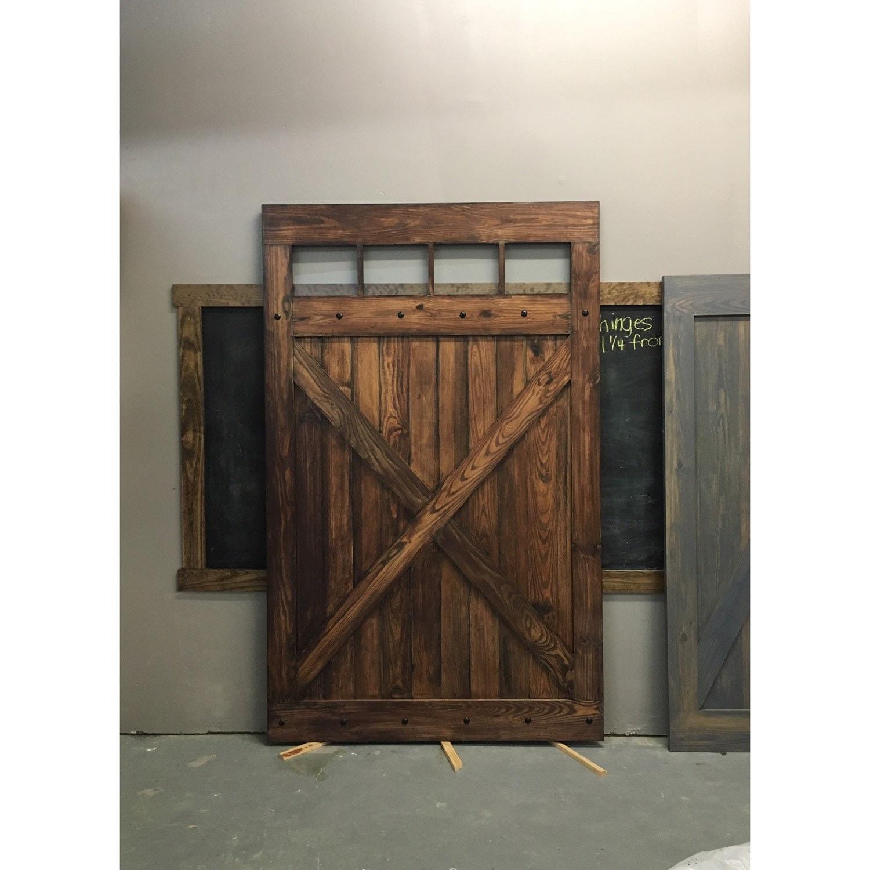 Hacienda Design Sliding Barn Door W Glass Windows By Rustic