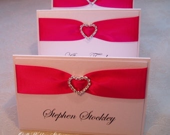 Wedding Place Name Card. Seating Card. Diamante Heart Place Card.