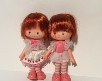 Vintage 1980s Set of Two Strawberry Shortcake Dolls, Super cute in little pink fairy dresses