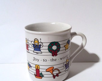 Vintage 1980s 'Joy to the World' Hallmark Christmas Mug