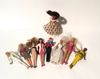 Vintage 1990s Big Bunch of 9 Barbie Miniatures Happy Meal Toys/Cake Toppers