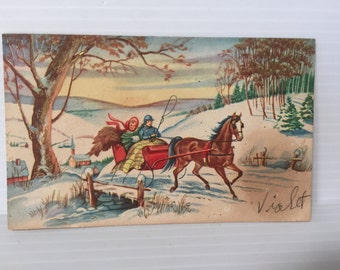 VINTAGE CHRISTMAS CARD, Vintage card for Christmas, card with sleigh ride, pretty Christmas card,color Christmas card,vintage paper ephemera