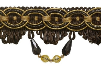 """Mocha Gold 3"""" Beaded Braid Fringe, Style# BF300 (Sold by The Yard)"""