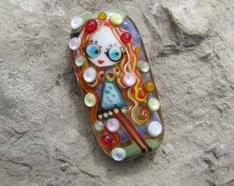 "Handmade Lampwork glass pendant, Lampwork glass focal bead, ""Girl"""