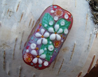 "Handmade Lampwork glass pendant, Lampwork glass focal bead, ""Flowers"""