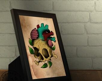 Framed  Neo Traditional Skull Heart Print. Tattoo style.