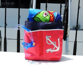 Anchor Beach or Pool Bag Tote, Extra Large, Hand-Painted
