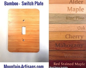 Bamboo Single LIGHT SWITCH Plate single Cover -Bamboo plain wood lightswitch wooden engraved customized home decor