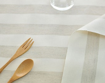 Laminated Linen Fabric 3 cm Stripe By The Yard