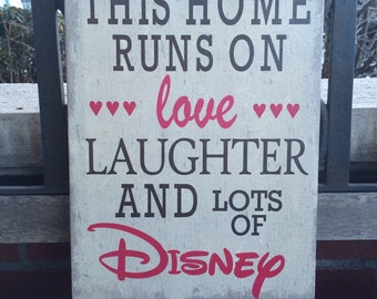 Disney Home, Love/Laughter and Disney, Handcrafted Custom Canvas, Disney Fans, Chose Your Color