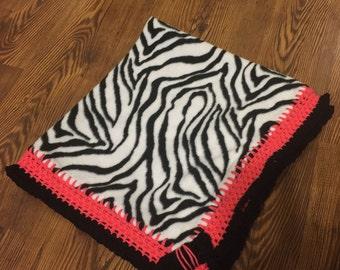 Zebra pink baby blanket