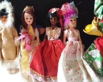 9 Sleepy Eyed Vintage Dolls, ARCO Alaskan Eskimo, England, Africa, American Colonial, Blue Bonnet American Heritage, Carlson Norwegian Doll