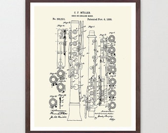 Oboe Patent - Oboe - Oboe Poster - Oboe Art - Oboe Wall Art - Woodwind - Jazz Band - Marching Band - Marching Band Art - Music Poster