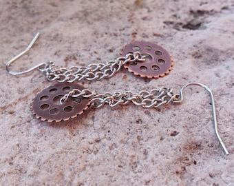 Earring - Copper Gear & Silver Chain