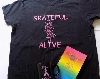 FUKC Cancer Care Package - Mug, Shirt, Book - Grateful Alive Breast Cancer Gift