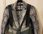Desigual jacket 8 denim graphic print unique designer bold alt grunge punk patch