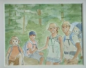 """Custom family portrait drawing, illustration, pen and ink, watercolor, 8 x 10"""" drawing with 11 x 14"""" mat"""
