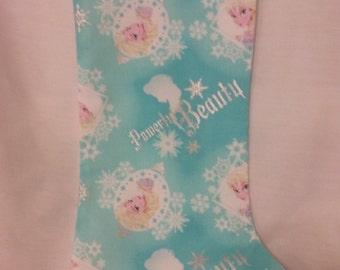 Frozen Print  Fabric Christmas Stocking Ready To Ship