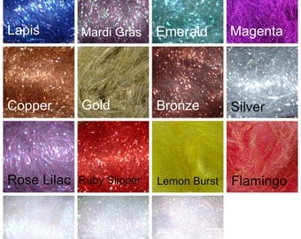 Sampler Pack of Metallic Fiber, 15 colors Crystal Metallic fiber for spinning, felting or fly tying