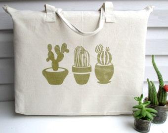 Cotton Canvas Tote, Cotton Tote, Cacti Tote, Cactus Tote, Succulent Tote, Wedding Tote Bag, Shopping Tote, Cactus, Succulent, Cacti