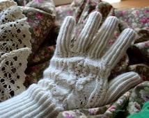 Hand knitted women's gloves, winter spring hand warmers, fishnet gloves, woolen gloves, romantic gloves, white gloves