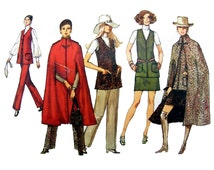 """Vintage 1970 Simplicity Misses' Mod High Collar Midi-Cape, Mini-Skirt, V-Neck Vest and Straight Pants Sewing Pattern Size 10 Bust 32.5"""""""