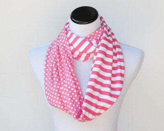 Infinity scarf pink white polka dots and stripes scarf - circle scarf loop scarf gift idea for her - gift for mom gift for girl