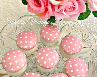 Wood Drawer Knobs Pulls Painted Door Handles Hand Crafted Pink Polka Dot Spots