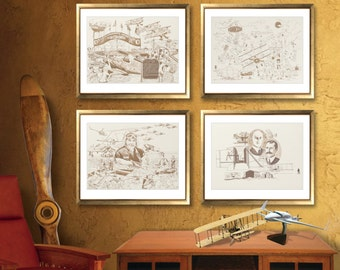 "LIQUIDATION SALE! 12"" x 16"" Art Print QUARTET,  featuring the Wright Brothers & the internationally world-famous fly-in held in Oshkosh"