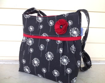 red and black dandelion purse with flower and button black and red purse, bag, women's purse, pleated purse, black purse, dandelion