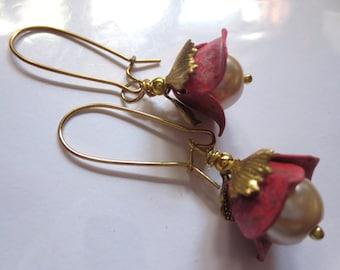 Art Nouveau earrings Art Deco earrings rosy red vintage flower earrings pearl drop 1920s Edwardian Victorian style floral earrings