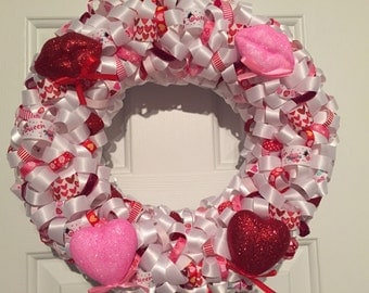 Handmade Red, Pink and White Valentines Day Ribbin Wreath