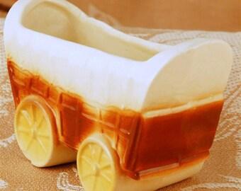 Vintage Ceramic Covered Wagon Planter