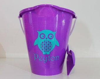 Owl Monogrammed Beach Pail and Shovel Set, Beach Bucket, Beach Pail, Sand Pail, Sand Bucket