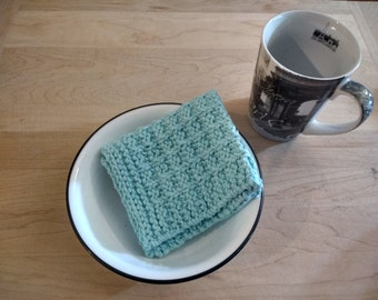 "Set of 3 Hand Knitted Dish Cloths/Wash Cloths ""Robin's Egg"" - housewarming gift/ hostess gift/ wedding gift/ bridal shower gift"