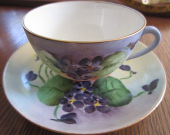 Vintage Hand Painted Cup And Saucer - Austrian Cup And Saucer - Tea Cup - Violet Cup And Saucer