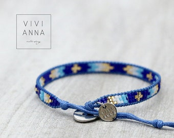 Handwoven bracelet blue & gold - A074