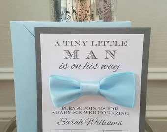 Handmade Baby Shower Invitation, Boy Baby Shower Invite, Blue Shower Invitation, Bow Tie Invite, Baby Boy Invitation