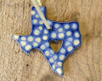 Handmade State Pottery Ornaments Texas