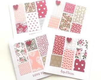 4 Handmade Stampin'Up Love Blossoms Simple Valentines Cards for Thank You or Friends with envelopes