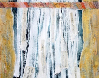 Abstract Collage- Original Art on Paper- Waterfall- Acrylic Mixed Media- Gold, White- Rainbow- 18x24- End of the Road