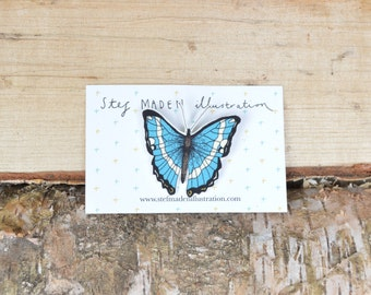 Blue butterfly illustrated brooch/pin