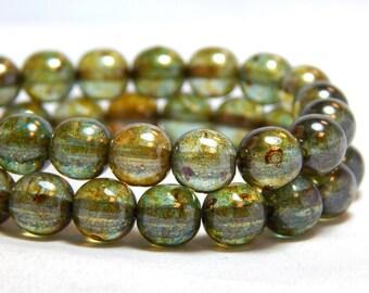 8mm Luster Transparent Green Czech Beads, Round Green Beads, Green Beads, Rustic Beads, Rustic Green Beads, 8mm Green Beads,  T-2E