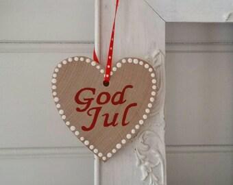 Natural wood Scandinavian God Jul Ornament - Handpainted -  FREE SHIPPING