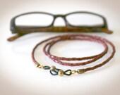 Braided Leather Eyeglass Chain - Antique Tan