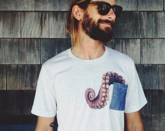 Watercolor tenticle chambray pocket t-shirt